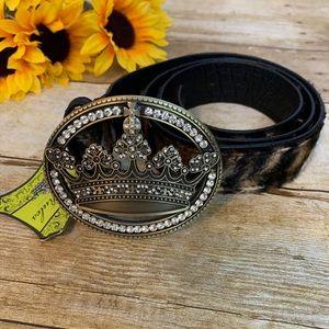 Animal print belt w/ crystal crown buckle is NWT